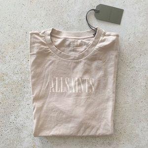 ✨ ALL SAINTS Logo Relaxed T-shirt Tan Size M NWT